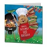 Meerschweinchen & Grill 'Hot Stuff' Eckig Geburtstagskarte
