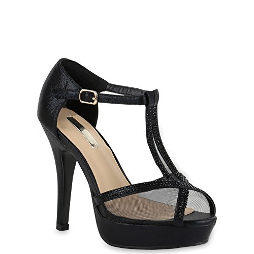 Damen Plateau Sandaletten Strass High Heels Metallic Sandalen Stiletto Abend Spitze Schuhe 133092 Schwarz Transparent 40 Flandell