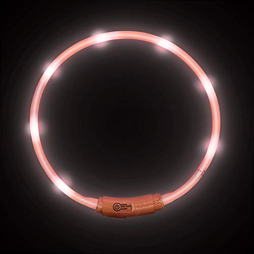 LaROO LED Hundehalsband Blinkende Sicherheit Hundehalsband für Hund und Katzen (Rosa-45CM)