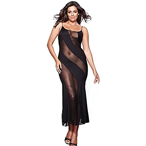 Wunhope Femme lingerie Sexy Erotique en Spitze Perspective Push up Avec G-String Noir Transparent Jupe de sommeil Bodydolls Longue Nuisette-Grande Taille S-6XL (XL)