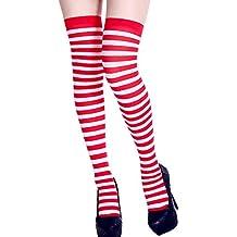37b7b3b1349 1 Paires Halloween Chaussettes Femmes Fête Party Fantaisie Longues  Chaussettes Legging Rayures Imprimé Cuisse Chaussettes Hautes