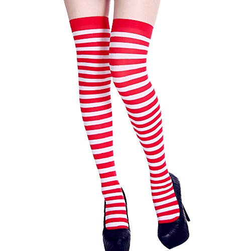 AmyGline Damen Stripe Prints Strümpfe Over Knee Strümpfe Karneval Kostüm Ball Party Karneval Cosplay - Rot Gestreifte Hose Kostüm