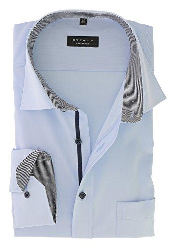 Eterna Comfort Fit Business Herren Hemd unifarben langarm bügelfrei mit Patch 100 % Baumwolle Hellblau