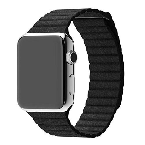 38/42 mm Apple Watch Bands Echt Leder Schlaufe iWatch Band Schlaufe, mit Magnet Schnalle Lock Ersatz Band für Apple Watch Alle Modelle schwarz schwarz (Schließung Schnalle Verstellbare)