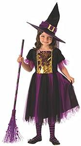 Halloween - Disfraz de Bruja para niña, dorado y morado - 8-10 años (Rubie