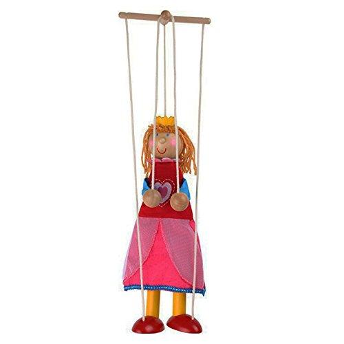Marionette Prinzessin aus Holz, mit Schnüren an einem Holzkreuz befestigt, schult spielerisch die Fingerfertigkeit und Motorik, das Kasperletheater kann losgehen und die Kleinen begeistern