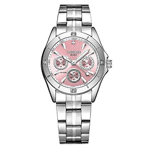 GOHUOS Damen Armbanduhren, Chronograph Analog Quarz Uhr für Frauen mit Edelstahl Band, Silber(Rosa) -