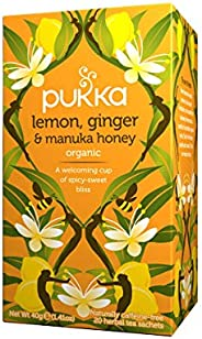 Pukka Lemon, Ginger & Manuka Honey, Organic Herbal Tea Bags, 20 Tea