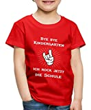 Spreadshirt Bye Bye Kindergarten Ich Rock Die Schule Kinder Premium T-Shirt, 134/140 (8 Jahre), Rot