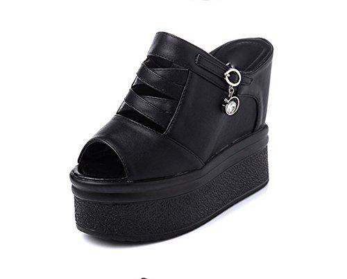 liuhoue Sandali Tacco Alto Pantofole & Femminile, Sandali Alti Neri & Muffin Piattaforma Sandali-A Lunghezza Piede=23.8CM(9.4Inch)
