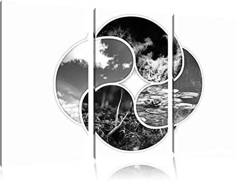 Die vier Elemente Kunst B&W 3-Teiler Leinwandbild 120x80 Bild auf Leinwand, XXL riesige Bilder fertig gerahmt mit Keilrahmen, Kunstdruck auf Wandbild...