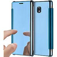 Funda para Galaxy J7 2017, funda protectora para Galaxy J7 2017, funda con espejo para Galaxy J7 2017, ikasus®, funda ultradelgada con revestimiento claro, transparente, translúcido, claro, funda para móvil con espejo, claro, atril, funda plegable magnética, funda plegable, espejo, funda protectora, carcasa, funda para móvil, carcasa plegable, funda para Samsung Galaxy J7 (2017) Duos J730F azul