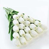 JUSTOYOU tallo único de tulipán hecho de látex con sensación real al tacto, de 33cm de largo, flores artificiales decorativas para ramos de boda, hogar, hotel, jardín, eventos navideños, regalo, tela, Blanco, Paquete de 20