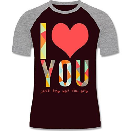 Romantisch - I love you just the way you are - zweifarbiges Baseballshirt für Männer Burgundrot/Grau meliert
