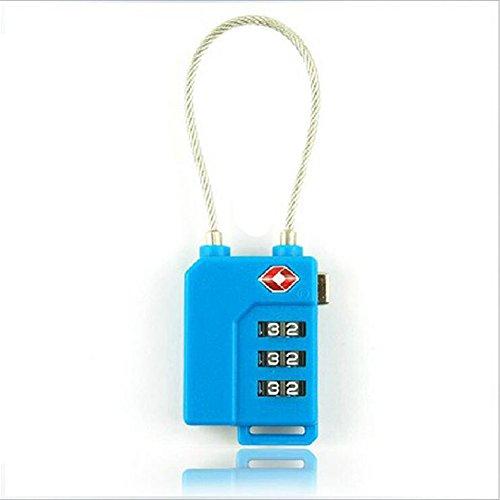 SYSI TSA Vorhängeschloss Reisegepäck Sicherheit 3 Digitales Kettenschloss für Reise, Geschäft, Zollkontrolle und kleines Geheimnis (Blau 2)