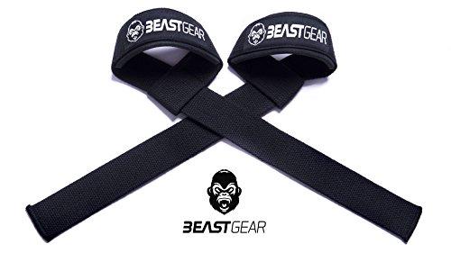 Sangles de Levage de Musculation / Halérophilie Beast Gear – Bandes Straps Rembourrées Support de Poignet Professionnelles avec Grips en Gel Flex