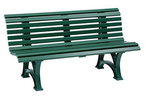 Sitzbank / Gartenbank 3er Design: Helgoland, Länge 150cm, grün (hochwertiger Kunststoff, Parkbank Made in Germany)