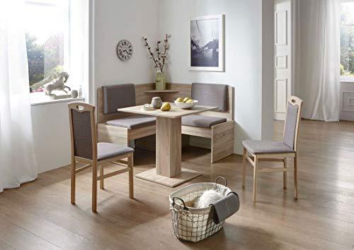 Eckbankgruppe Tarvis - Eiche Sonoma Dekor mit 2 Stühlen und 1 Säulentisch - Bezug Graubraun