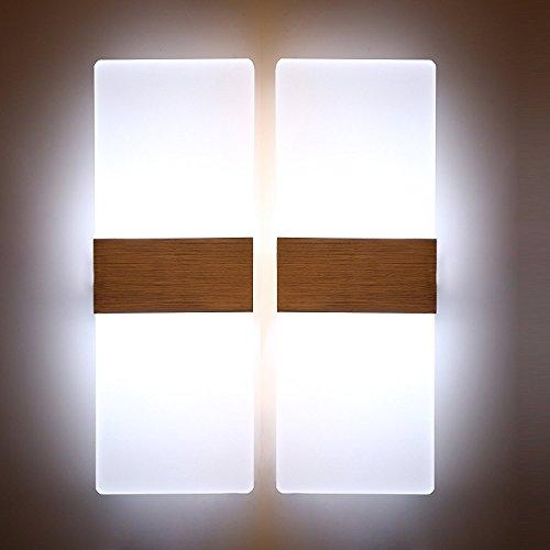 Glighone 2x 12W LED Wandleuchte Wandlampe Innen Modern Weiss Up und Down aus Acryl Kaltweiss Flurlampe Innenleuchten für Wohnzimmer Schlafzimmer Esszimmer Treppenhaus Flur Korridor usw.