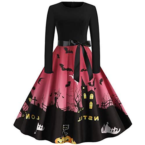 WooCo Damen Kleider Halloween Kostüm A Line Cocktailkleider - 1950er Jahre Hausfrau Abend Party Prom Swing Dress Unterhalb des Knies(XX-Large,A-Wein)