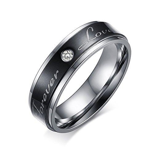 CARTER PAUL Paar Edelstahl stilvolle schwarze Liebe Ringe immer CZ Ring Versprechen Band, Größe 62 (19.7) (Versprechen Ring Für Immer)
