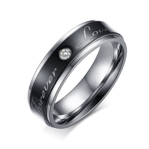 CARTER PAUL Paar Edelstahl stilvolle schwarze Liebe Ringe immer CZ Ring Versprechen Band, Größe 62 (19.7) (Immer Für Ring Versprechen)