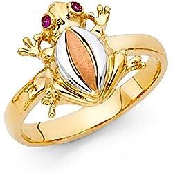 Paradise Jewelers mujeres tricolor sólida del oro amarillo magenta cubic zirconia anillo de la rana, tamaño 8