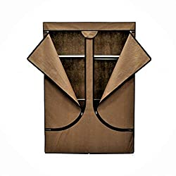 EBS Kleiderschrank Faltschrank Stoffschrank Schrank Garderobe Regal (Braun)