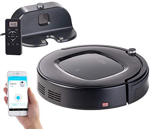 Sichler Haushaltsgeräte Staubsauger Roboter: WLAN-Reinigungs-Roboter mit Wischfunktion & App, komp. zu Amazon Alexa (WLAN Staubsaugroboter)