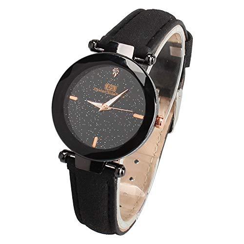 Damen Armbanduhr,Alaso Casual Damenmode Lederarmband Analoge Quarz-runde Armbanduhr Uhren