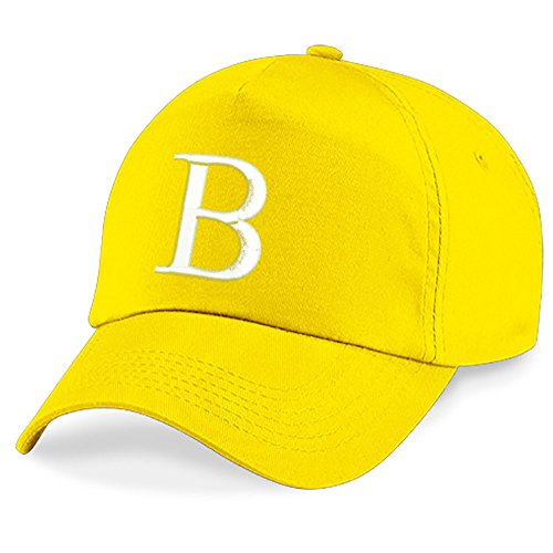 4sold Childrens Embroidery Cotton Summer Sun Hat Children School Kids Caps Hat Sport Alphabet A-Z Boy Girl Adjustable Baseball Cap Yellow