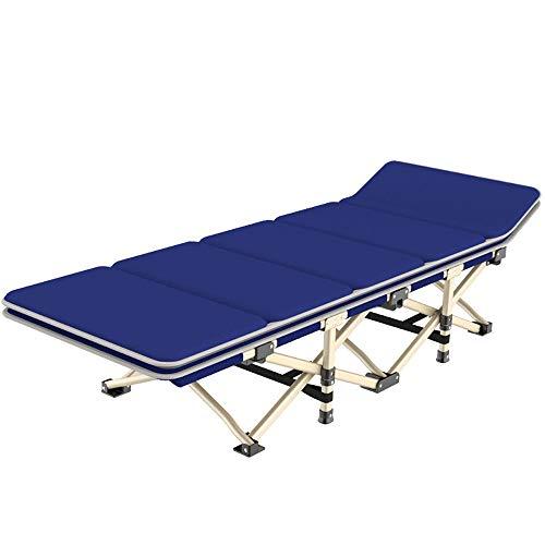 EAHKGmh Klappbett Einzelbett mit abnehmbarem Wattepad Klappbett Nickerchen im Freien Campingbett Schlafsofa Tragbares Bett Zustellbett (Color : Blue)