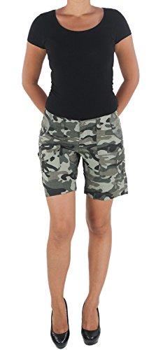 Damen Camouflage Shorts Capri Hot Pants Bermuda Cargo Army Armee Kurze Hose Khaki L/40 (Shorts Camouflage Baumwolle)