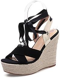 Longra Donne Open Toe Pure sandali della spiaggia di colore (EU Size:37, Bianca)