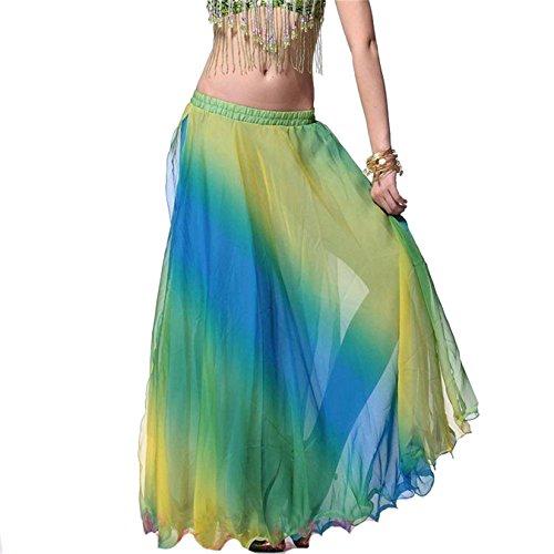 Damen Tanzkleidung Bauchtanz Rock Tribal Tanzen Kostüm Gemischt Farben Maxi (Kostüme Tanz Für Fett)