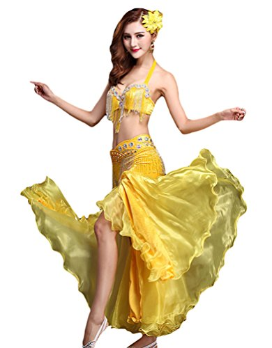 Kostüm Dance Tanz - YiJee Damen Belly Dance Tanz Kostüm Split Bauchtanz Set BH Set Tops Rock Gelb S