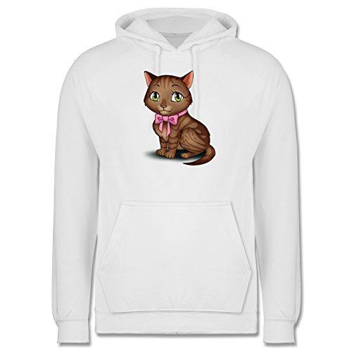 Katzen - Kätzchen mit Schleife - Männer Premium Kapuzenpullover / Hoodie Weiß