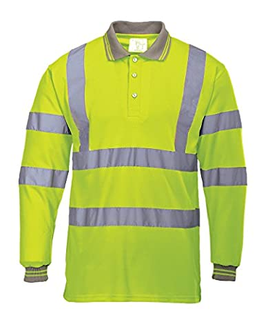 Portwest S277YERL Hi-Vis Long Sleeved Polo, Regular, Size Large, Yellow