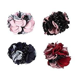Lurrose 4 Stück Große Haargreifer Clip mit Seidenblume Dekor Elegante Haarschmuck für Damen