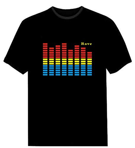 Triseaman Parejas Adulto Control de Audio LED Intermitente Club Nocturno Fiesta Camiseta M