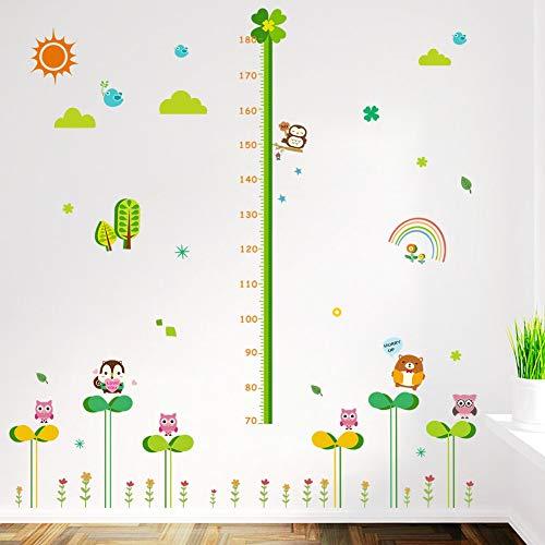 Sticker mural Plante verte Bébé Hauteur Mesure Cartoon Hibou Animal Rainbow Enfants Chambre Décoration Diy Grandir Tableau Mural