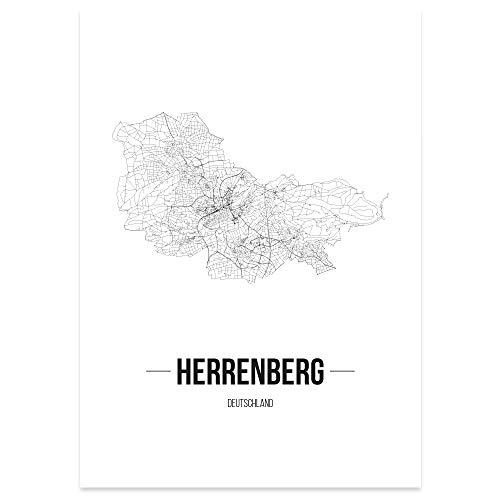 JUNIWORDS Stadtposter - Wähle Deine Stadt - Herrenberg - 40 x 60 cm Poster - Schrift B - Weiß