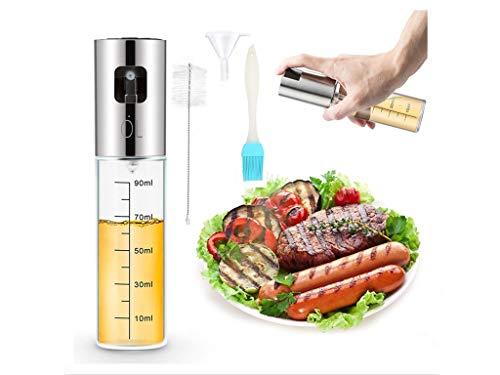 Dispensador de aceite portátil de aceite de oliva con botella de spray de acero inoxidable graduado para ensalada, cocina, hornear, asar, asar, freír