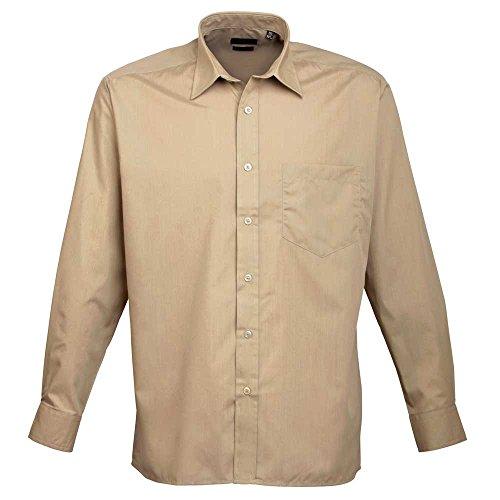 Premier Workwear Poplin Long Sleeve Shirt, Camicia Uomo cachi