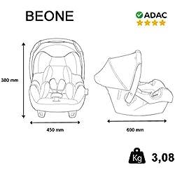 Siège Auto BEONE, Groupe 0+ (de 0 à 13 kg), NANIA Agora Gris, 4 étoiles TEST ADAC