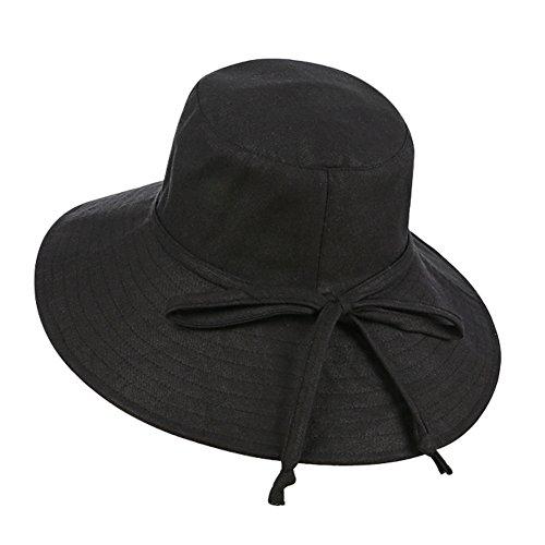 Qchomee - Sombrero plegable con forma de sombrero de sol UPF 50 + cubo gorra amplia sombrero de playa de viaje, vacaciones, camping, jardinería, caminar, protección solar, gorra de correa ajustable para la barbilla, mujer, negro, talla única