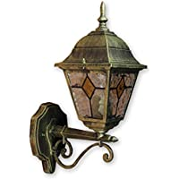 Lámpara de pared para exterior Tiffany, de cristal, estilo antiguo, hacia arriba,