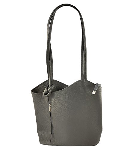 FreyFashion - Made in Italy, Borsa a zainetto donna Glattleder Dunkelgrau