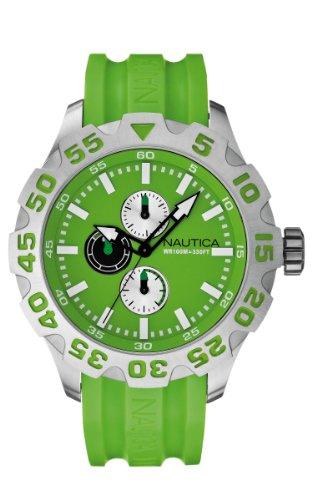 Nautica Men's Watch A15580G–Analogue Quartz–Green Dial Green Silicone Strap