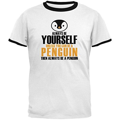 Pinguin Ringer T-shirt (Immer werden sich Pinguin Mens Ringer T Shirt weiß-schwarz MD)
